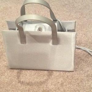 silver satin hand bag, shoulder strap, new